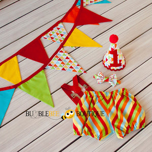 Circus - Red one of a kind cake smash outfit & bunting set