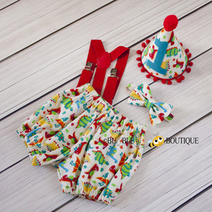 Dinosaurs - Cream Cake Smash Outfit. Cute & colourful dinosaurs on cotton twill fabric.