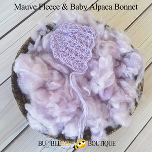 Mauve hand-dyed fleece with baby alpaca bonnet