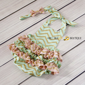 Girls' cake smash outfit, Glimmer gold, green & pink  Chevron back view