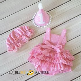 Gone Dotty Rose Pink Girls Cake Smash Outfit (back view) with party hat and frilly mob cap.