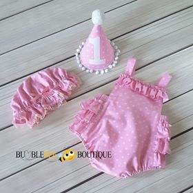 Gone Dotty Rose Pink Girls Cake Smash Outfit (front view) with party hat and frilly mob cap.