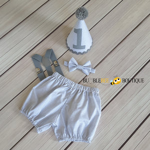 Grey Colour Weave cake smash outfit