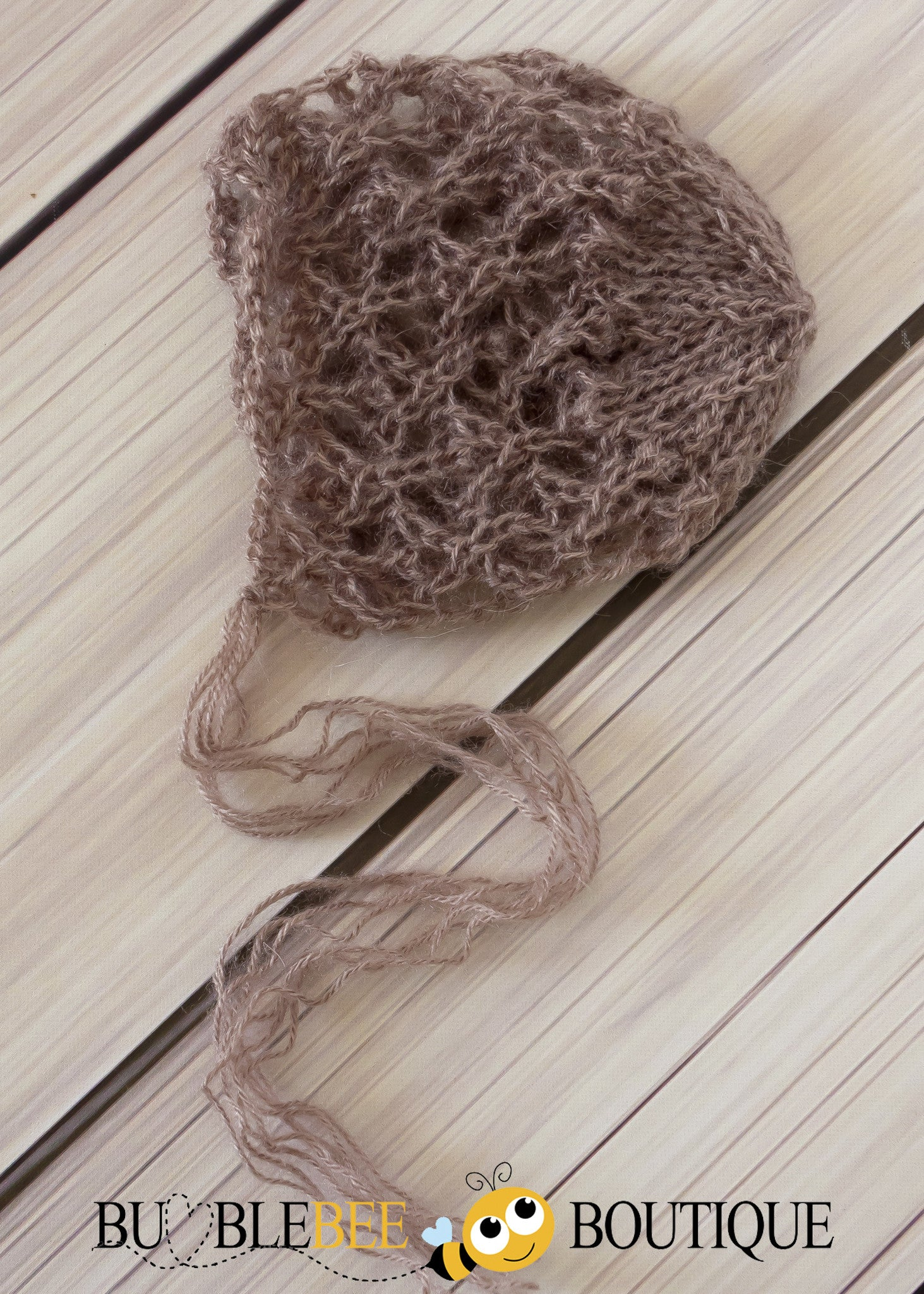 Taupe hand knitted lacey mohair bonnet newborn photography prop