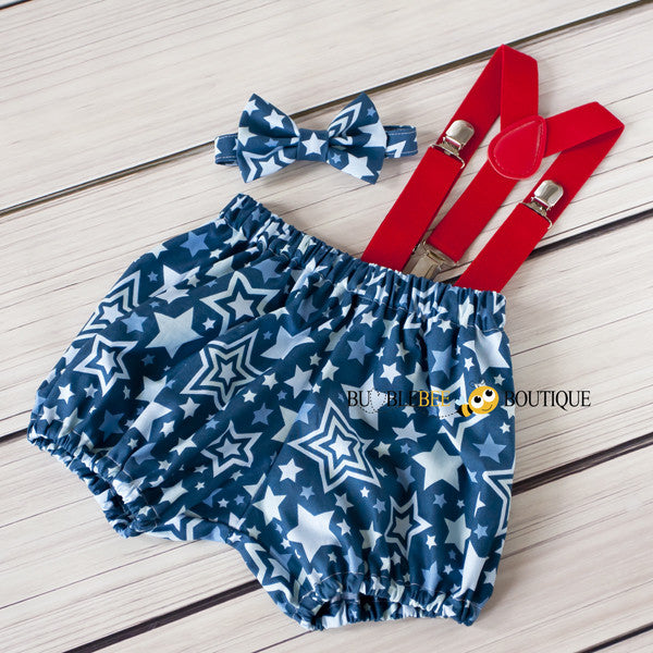 Lucky Stars navy cake smash outfit with red suspenders
