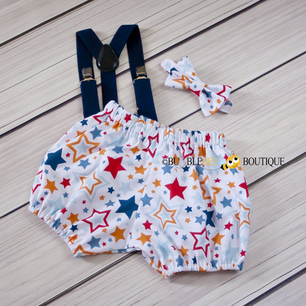 Lucky Stars White Cake Smash Outfit with navy suspenders