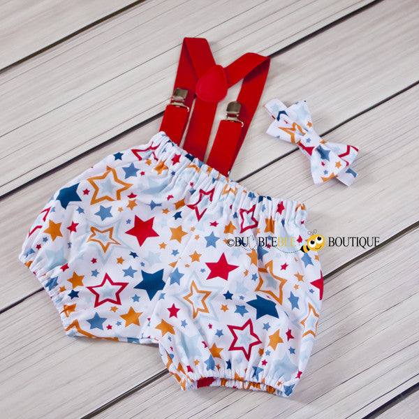 Lucky Stars White Cake Smash Outfit with red suspenders