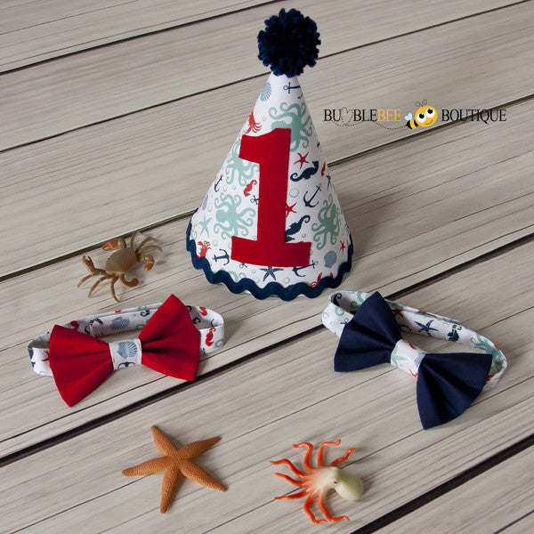 Octopus Beach White Party Hat & Bow Ties