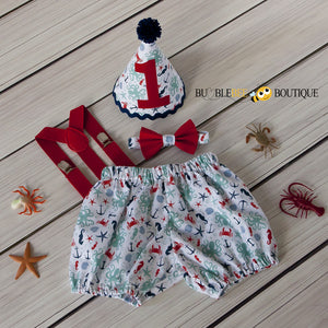 Octopus Beach White Cake Smash Outfit with Red Suspenders & Tie