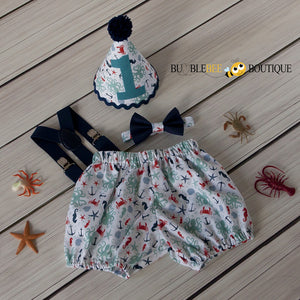 Octopus Beach White & Teal Cake Smash Outfit with Navy Suspenders & Bow Tie