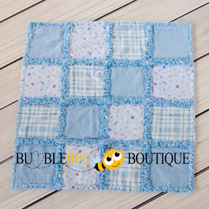 Baby Blue Mix 1 Rag Quilt front view