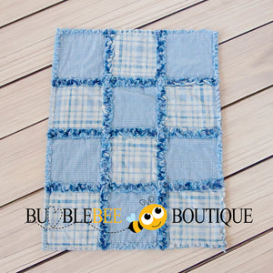 Rag Quilt - Baby Blue Checks front