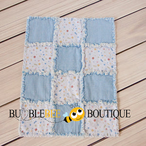 Baby Blue Mix 2 Rag Quilt front