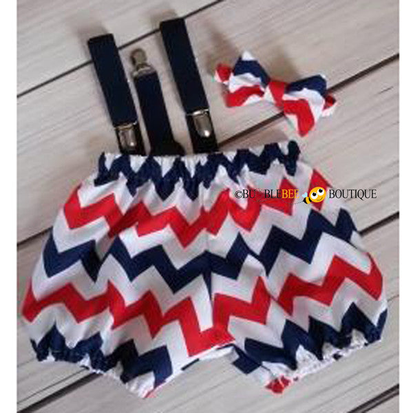 Red, white & navy chevron striped cake smash outfit with navy suspenders