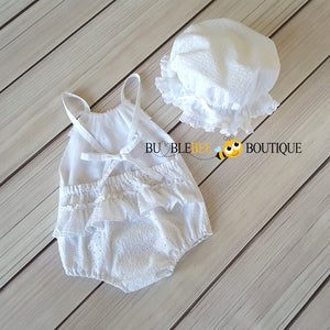 Daisy Limited Edition Embroidered Cotton Girl's Romper & Mob Cap (back view)