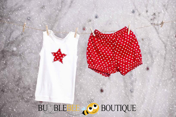 Star singlet & pants set - red