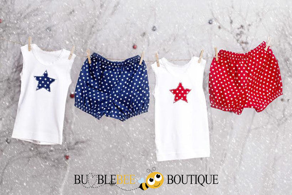 Star singlet & pants sets - red & navy