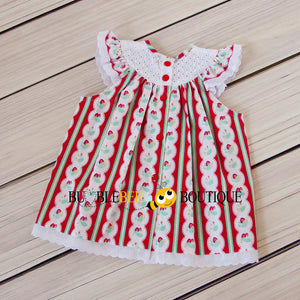 Regency Stripe Strawberries Sitter Dress back view