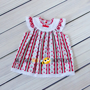 Regency Stripe Strawberries & Daisies Sitter Dress front view