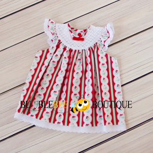Regency Stripe Strawberries Sitter Dress front view