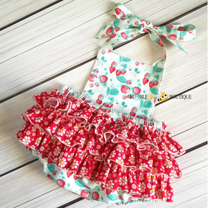 Strawberries & Cream Girls Cake Smash Outfit back view of ruffle romper
