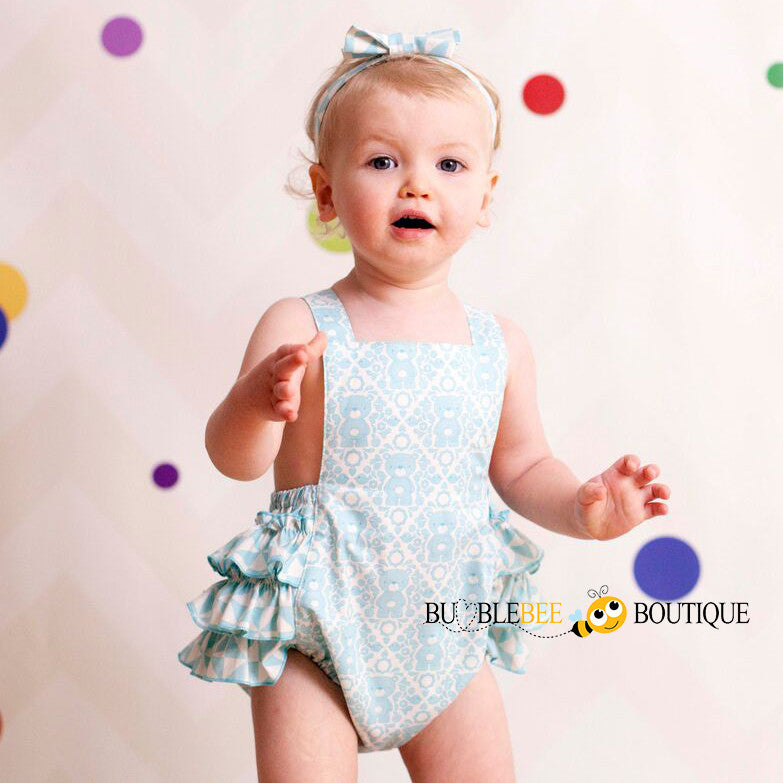 Teddy Bears Picnic Aqua Girls Cake Smash Outfit Romper & Headband