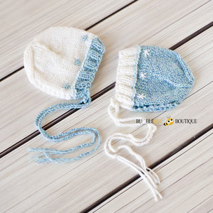 Merino Twin Boy Bonnets - Blue & White