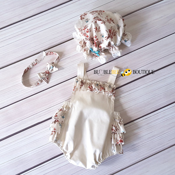 Vintage flowers cream cake smash outfit with mob cap and headband