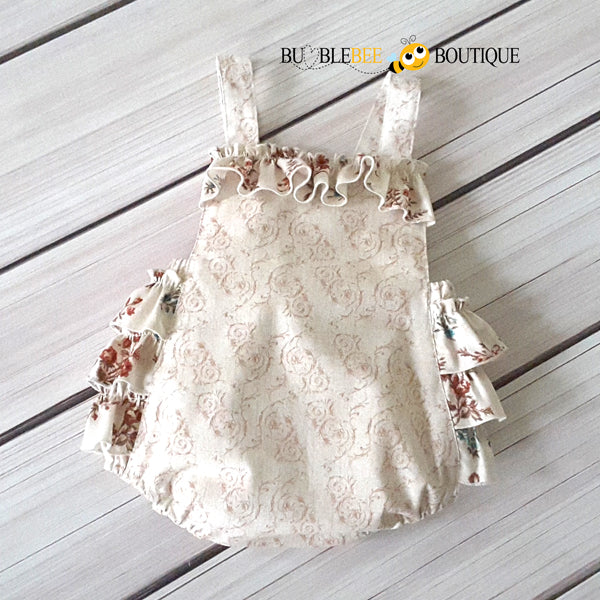 Vintage flowers cream scroll print cake smash outfit