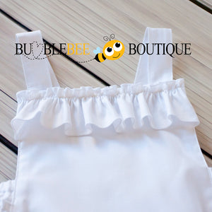 White Frilly Romper Front Close-up