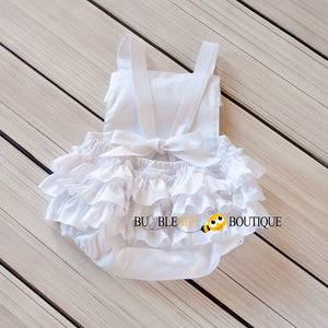 White Frilly Romper Back View