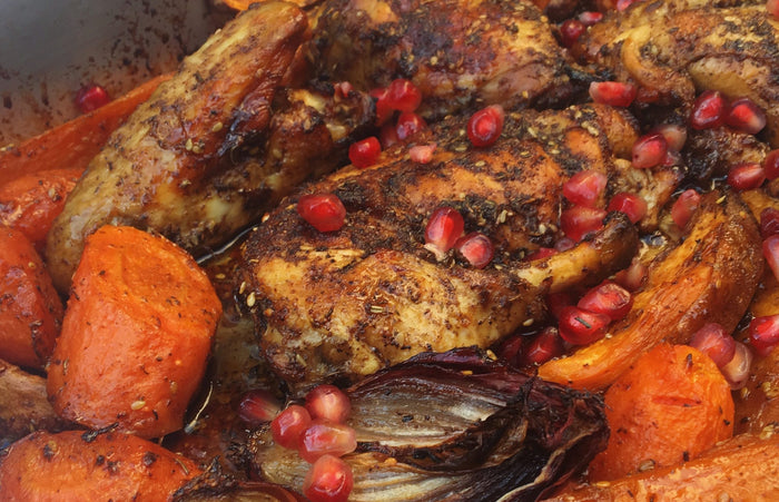 Sticky Pomegranate & Winter Roots Chicken Tray Bake