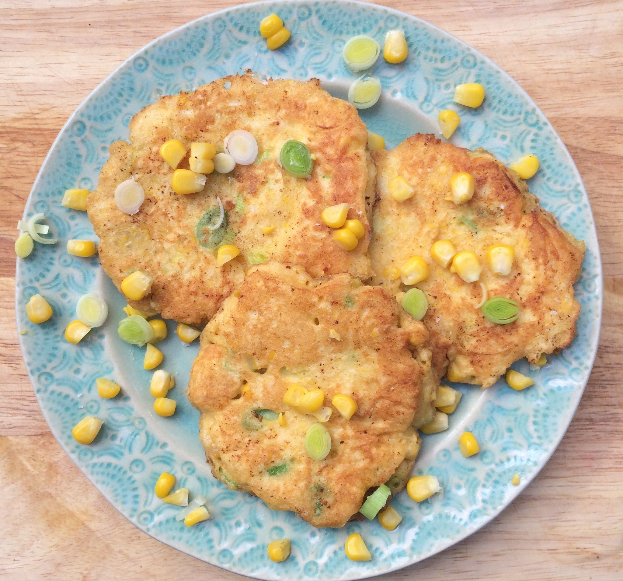 Sweetcorn and Baby Leek Fritters