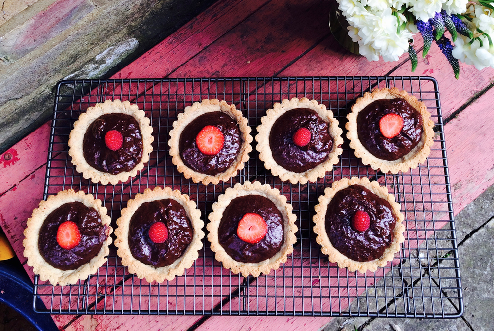 Hazelnut Salted Chocolate Ganache Tarts