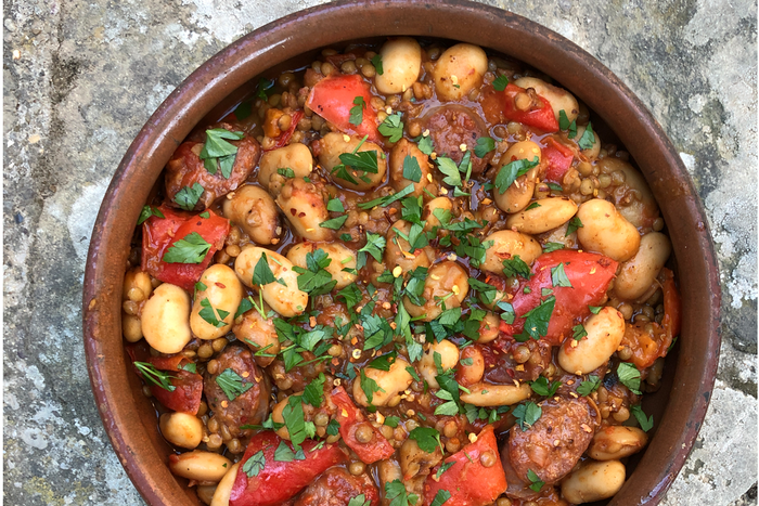 Chorizo, lentil, butter bean and red pepper hot pot