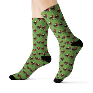 Diamond Pattern Socks With Added Christmas Hat