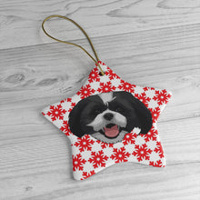 Load image into Gallery viewer, Red Snowflakes Ceramic Ornament