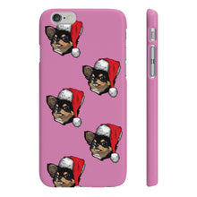Load image into Gallery viewer, Slim Checkered Pattern Phone Case with Added Christmas Hat