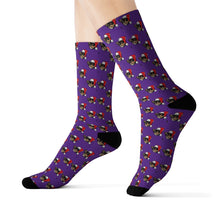 Load image into Gallery viewer, Diamond Pattern Socks With Added Christmas Hat