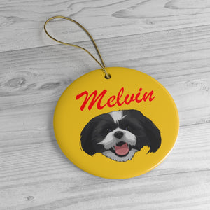 Mustard Yellow Ceramic Ornament with Name