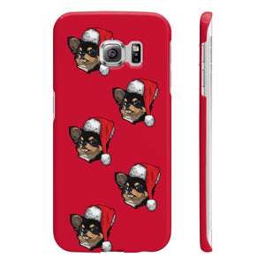 Slim Checkered Pattern Phone Case with Added Christmas Hat