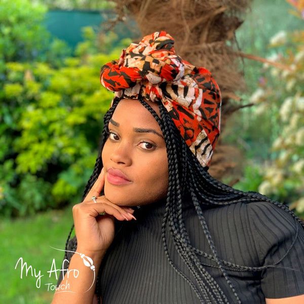 Headwrap tissus batik orange noir blanc - My Afro Touch