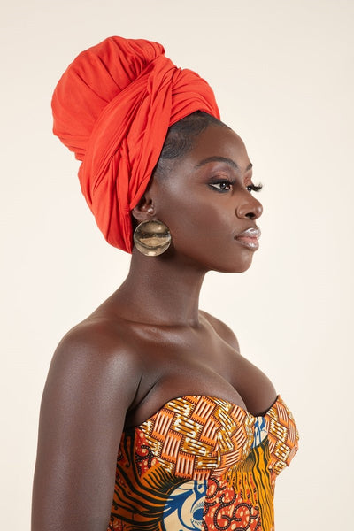 Orange Headwrap - Grass Fields