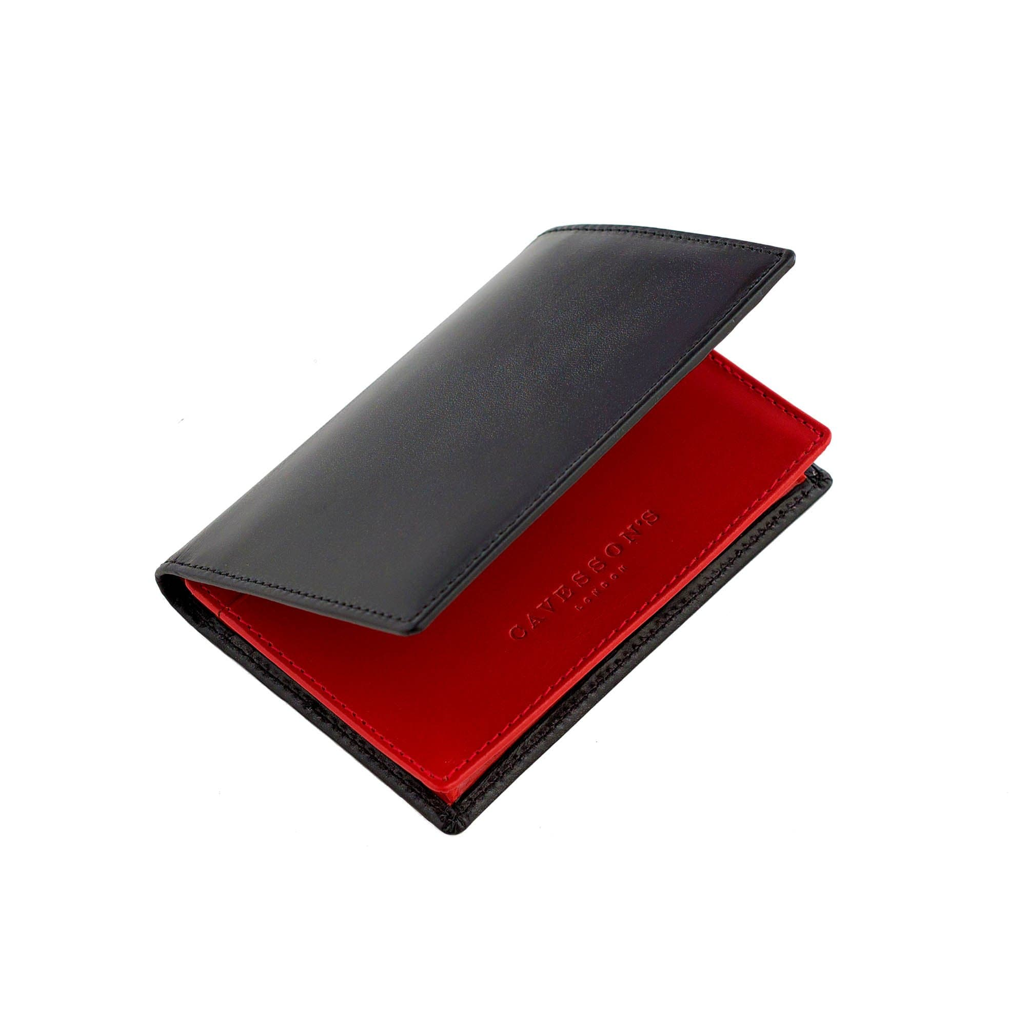 Cavesson's - Wallet - CANDOVER CARD WALLET BLACK/RED - Bortex Fine Tailoring