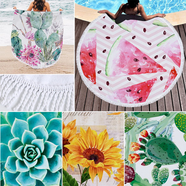 Round Microfibre Beach Towel: Summer Colours Collection