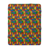 Building Blocks Multicolored Sherpa Fleece Blanket - Not Bad Gifts