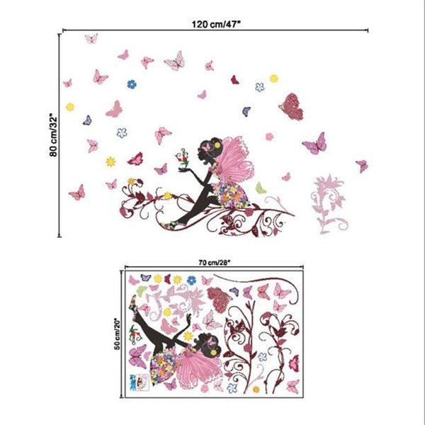 Butterfly Flower Fairy Wall Stickers Decals For Girls Bedroom - Art Mural - Not Bad Gifts
