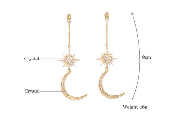 Shiny Crystal Star Moon Earrings Charming Earrings for Women Fashion Jewelry - Not Bad Gifts