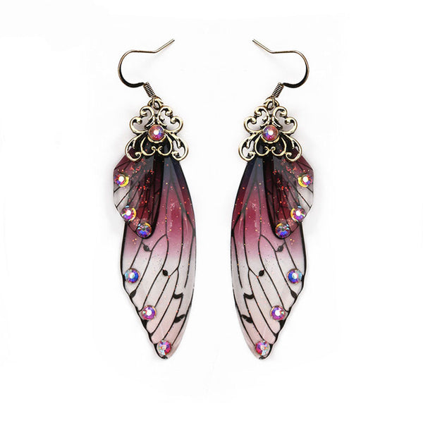 Fashion Handmade Femme Wing Drop Earrings Gold Color Fairy Tale Cicada Wings Earrings Rhinestone Purple Earrings Vintage Jewelry - Not Bad Gifts