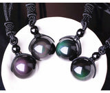 Black Obsidian Rainbow Eye Ball Necklace Transfer Lucky Love Natural Stone Buddhism Pendant Necklaces for Women or Men - Not Bad Gifts